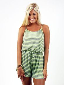 Grey & Neon Green Cotton Romper | Shop TC Elli's