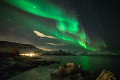Auroras  Taken by anne Birgitte Fyhn on January 28, 2014 @ Skulsfjorden bay, Kvaløya island, Tromsø, Norway