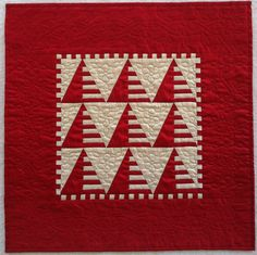 Red and Ecru Silk Miniature Quilt