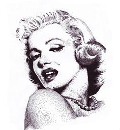 Marilyn Monroe Stipple Art by Fabian Kohen, via Behance