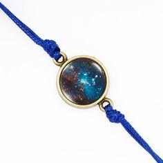 Dark Starry Galactics Nebula Bracelet, Blue Cord Galaxy Bracelet, Friendship Space Bracelet, Bezel Color- Silver, Bronze, Gold BGRA01R01K08