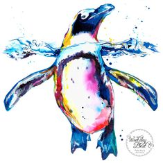 Colorful PENGUIN Art Print of original watercolor por WeekdayBest