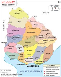 Map Of Uruguay Montevideo South American Countries Uruguay Map - Uruguay map atlas