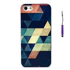 Retro Geometric Figure Pattern PC Hard Back Cover Case with Touch Pen for iPhone 5/5S – USD $ 3.99