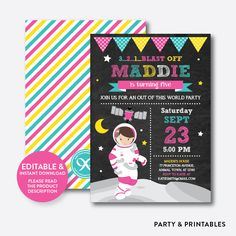 Astronaut Girl Ch... http://partyandprintables.com/products/astronaut-girl-chalkboard-kids-birthday-invitation-editable-instant-download-ckb-67c?utm_campaign=social_autopilot&utm_source=pin&utm_medium=pin #partyprintables #birthdayinvitation #partysupplies #partydecor #kidsbirthday #babyshower