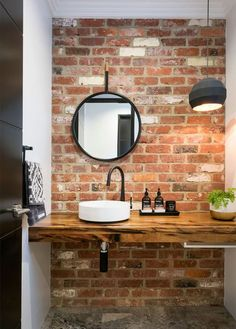 45 Pretty Bathroom Design Ideas With Exposed Brick Walls To Try - A bathroom whether it is an independent unit or attached to a bedroom will always have tiles running around all wall surfaces. I some cases the tiles . Brick Bathroom, Small Bathroom Sinks, Bathroom Colors, Bathroom Flooring, Bathroom Ideas, Small Sink, Bathroom Cabinets, Bathroom Vanities, Master Bathroom