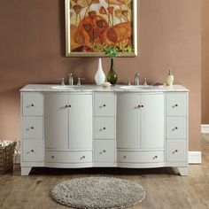 "Silkroad Exclusive 72"" White Oak Double Sink Cabinet with Carrara Marble Top - V0292WW72D"
