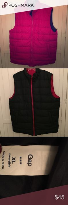 Men's GAP Reversible Puffy Vest Rarely worn, Men's Gap reversible puffy vest. Vest has pockets on either side. One side is red and the other is navy blue. Vest is size XL and 100% polyester. GAP Jackets & Coats Vests