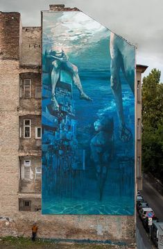 """Collab Sepe and Chazme - """"Blue in Green"""" - for the Szines Varos Street Art Festival - Budapest, Hungary - Sept 2016 / Photo source: StreetArtNews Murals Street Art, Street Wall Art, Mural Art, Best Graffiti, Street Art Graffiti, Banksy, Blue In Green, Art Du Monde, Casa Patio"""