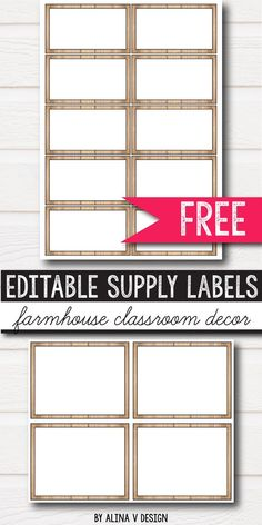 Free editable classroom supply labels for preschool, primary, middle and elementary classroom decor for your school. The children will love this bright and fun printables hanging on the wall. If you're looking for ideas and you're on a budget, this calming rustic set is for you. It will work perfectly with several classroom decor themes: farmhouse, burlap, vintage, shabby chic and even simple, neutral decorations. It includes two freebie sizes - all editable.