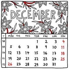 December 2016. Illustrated calendar by Jytte Hviid.