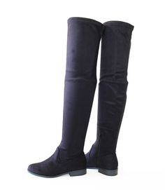 39badb56e93 Hot Trend Soft Stretch Micro Suede Over The Knee Thigh-High Flat Boots Black