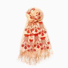 Red Nouveau Floral Scarf