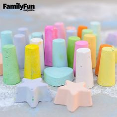 Chalk Pops: With our easy recipe, you can make sidewalk chalk in fun shapes using ice pop or silicone baking molds.