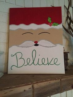 Easy Canvas Painting Ideas for Christmas 30 Santa Paintings, Christmas Paintings On Canvas, Christmas Canvas, Christmas Art, Christmas Projects, Simple Christmas, Christmas Decorations, Christmas Fashion, Easy Paintings