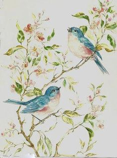 PJH Designs One of A Kind Vintage & Antique Furniture & Home Decor: Free Graphics Wednesday Art Vintage, Decoupage Vintage, Vintage Cards, Vintage Images, Watercolor Bird, Watercolor Paintings, Painting Antique Furniture, Ouvrages D'art, Art And Illustration