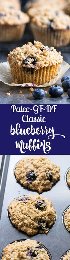 These Paleo Blueberry Muffins have classic flavor and texture plus the perfect crumb top - it's downright addicting! Have one freshly baked or make them ahead of time and enjoy as a part of your breakfast or a grab-n-go snack. They're grain free dairy Paleo Dessert, Dessert Sans Gluten, Paleo Sweets, Dessert Recipes, Paleo Blueberry Muffins, Blue Berry Muffins, Healthy Muffins, Healthy Food, Crumb Topping For Muffins