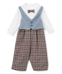 4b486d42de7 Caught Ya Lookin  Gray   Red Plaid Bow Tie Long-Sleeve Romper - Infant    Toddler