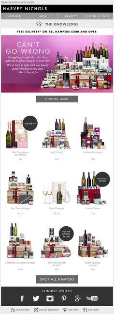 Harvey Nichols gift guide email Holiday Emails, Harvey Nichols, Gift Guide, Gifts, Presents, Favors, Gift