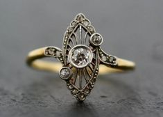 Weddbook is a content discovery engine mostly specialized on wedding concept. You can collect images, videos or articles you discovered organize them, add your own ideas to your collections and share with other people | So. Pretty. - Antique Art Deco Ring Vintage Diamond Art Deco by AlistirWoodTait, £1295.00 #20s #greatgatsby
