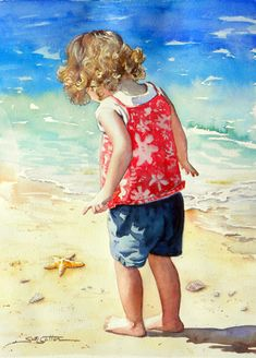 Beach Discovery watercolor by Sue Lynn Cotton.little girl on beach Watercolor Portraits, Watercolor Paintings, Watercolors, Beach Paintings, Art Plage, Painting People, Drawing People, Beach Art, Beautiful Artwork