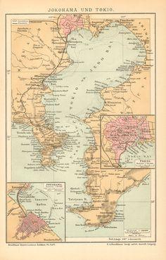 1895 Original Antique Map of Yokohama and by CabinetOfTreasures