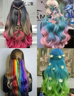 Different hair color ideas for long hair with soft curls / rainbow ombré / colormelt