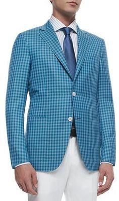 1b7342b2338 Ermenegildo Zegna Check Wool-Silk Two-Button Jacket