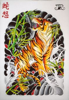 Multicolor japanese-style tiger tattoo design on back Tatuajes Tattoos, Bild Tattoos, Body Art Tattoos, Tattoo Drawings, Sleeve Tattoos, Thigh Tattoos, Asian Tattoos, Trendy Tattoos, Popular Tattoos