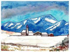 """Tyrolean village"", watercolour on paper, 30 x 40 cm Berg, Watercolour, Paintings, Paper, Idea Paint, Painting Art, Pen And Wash, Watercolor Painting, Paint"