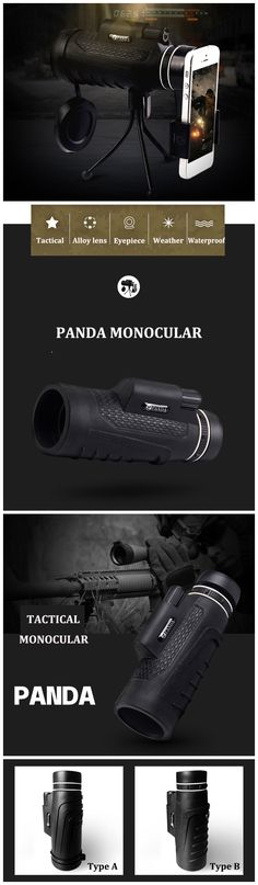 PANDA 20X60 HD BAK4 Monocular Clear Night Vision Optic Lens Telescope With Tripod Outdoor Travel