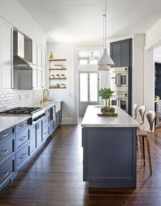 eclectic kitchen remodel with gray blue and white wood open shelves.jpg - eclectic kitchen remodel with gray blue and white wood open shelves. Blue Kitchen Cabinets, Kitchen Redo, Home Decor Kitchen, New Kitchen, Home Kitchens, Blue Kitchen Interior, Blue Kitchen Island, Kitchen Ideas, Kitchen Counters
