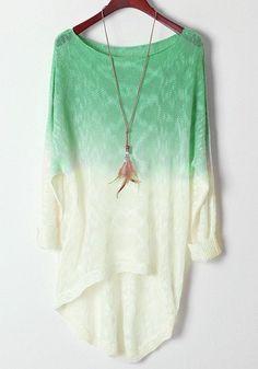 Light Green Gradient  Long Sleeve Sweater