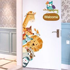 [SHIJUEHEZI] Cartoon Animals Wall Stickers DIY Children Mural Decals for Kids Rooms Baby Bedroom Wardrobe Door Decoration. Category: Home & Garden. Subcategory: Home Decor.