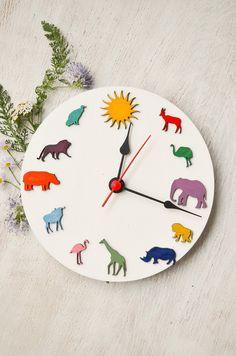 Wood children Safari clock african animals original colored clock, Christmas gift for children, decoration ideas for kids room