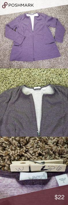 Pure Jill Small Sweater Purple Long Sleeve Zip Fro Pure Jill Small Sweater Purple Long Sleeve Zip Front Pocket Crew Neck  Sleeve 22.5 shoulder to shoulder 13.5 Chest  17.4 Length 25 lip6 3/12 J. Jill Sweaters Crew & Scoop Necks