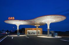 Unusual gas station. Inspired for Petrol Forecourt Architecture.