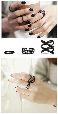 These black matte rings are so great, separate or together! How would you wear them? Click to see more details!