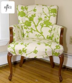 Reupholstered chair.