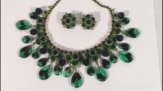 Vintage Collectible 1940's Costume Jewelry Set Peacock Green Necklace & Earrings