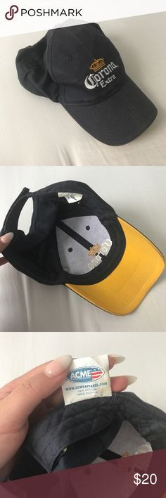 Corona Extra Baseball Cap corona extra 🍻🌴⚾️ baseball cap! such a fun accessory! this was a hand-me-down item is used and worn to vintage feel, with velcro adjustment in back, color is navy blue and yellow underneath the bill, size runs small Corona Accessories Hats