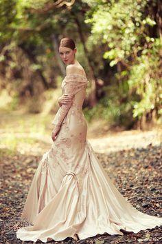 george wu bridal 2014 assyria long sleeve off shoulder color wedding dress side view