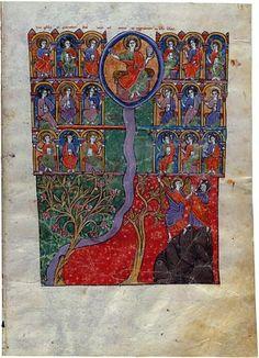 Cristo Entronizado sobre el Río de la Vida. Beato de Liébana. Comentarios del Apocalipsis. España 1220 Comprado por Pierpont Morgan, 1910 MS M.429 (fol. 141)