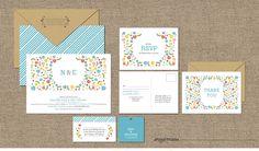 MODERN WEDDING INVITATION Set - Printable Designs - Bohemian Floral. $45.00, via Etsy.