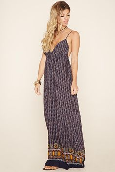 A woven maxi dress featuring floral print, a V-neckline, skinny self-tie back straps, a shirred bust line, and a partially elasticized back.