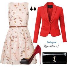 vestido by gessilene-ferreira on Polyvore featuring moda, Yumi, Christian Louboutin, Yves Saint Laurent and Kendra Scott