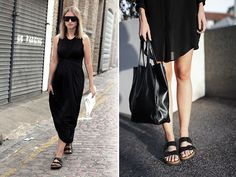 To Birkenstock or not to Birkenstock? That is the question. Whether 'tis nobler in the mind to reject the slipper, or to take arms against the naysayers and wear the double strapped Arizona Birkenstock… Birkenstock Outfit, Estilo Birkenstock, Black Birkenstock, Love Fashion, Fashion Tips, Travel Fashion, Couture 2015, Frack, Silver Dress