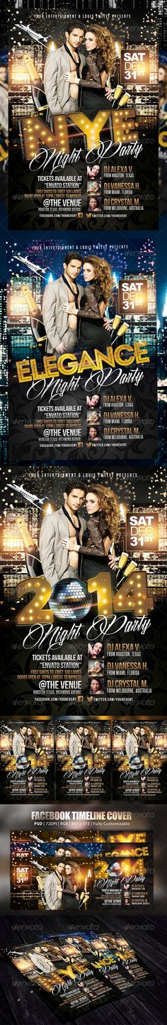New Year Eve or Elegance Party | Flyer + FB Cover — Photoshop PSD #vip #christmas party • Available here → https://graphicriver.net/item/new-year-eve-or-elegance-party-flyer-fb-cover/6078687?ref=pxcr