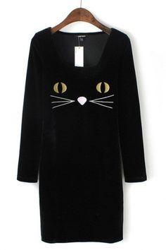 SO CUTE! Black Cat Embroidered Velvet Dress #black #cat #fashion
