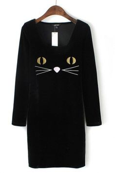 My daughter would love this.  SO CUTE! Black Cat Embroidered Velvet Dress #black #cat #fashion